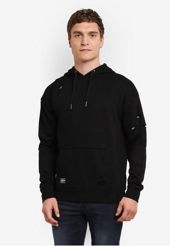 Burton Menswear London 黑色 Threadbare 黑色 Over Head Distressed 連帽衫 BU964AA0S2B6MY_1