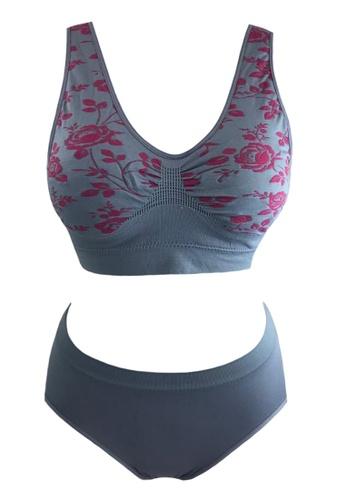 Modernform International grey Yoga & Sport Embroidery Floral Bra Set (P0472) B1A1CUS9889456GS_1
