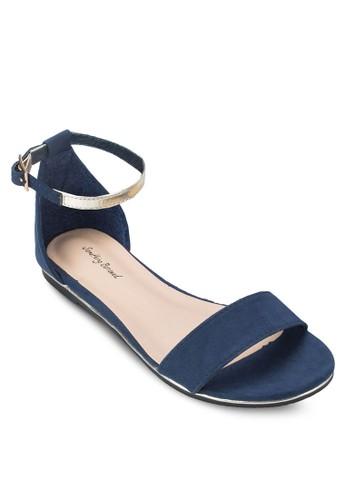 一字帶繞zalora 衣服尺寸踝包跟涼鞋, 女鞋, 涼鞋