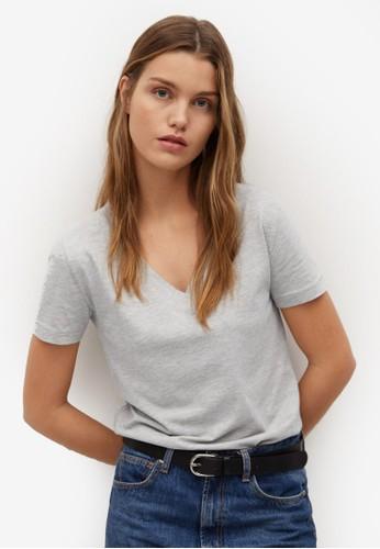 Mango grey V-Neck Cotton T-Shirt 05921AA9E24413GS_1