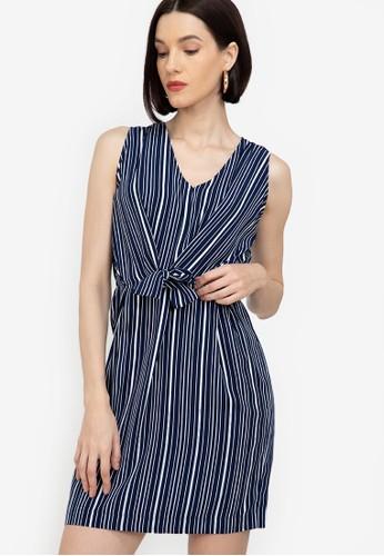 ZALORA WORK navy Sleeveless Tie Waist Dress 96233AAE73B339GS_1