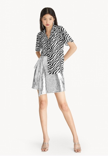 Pomelo multi Mini Sequined Asymmetrical Skirt - Silver 601E1AAFBFA065GS_1