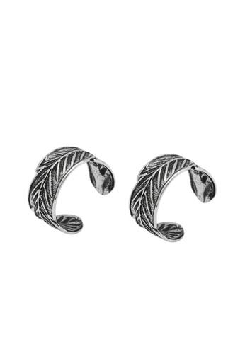 LYCKA 銀色 LDR8030 S925純銀復古葉耳環 A0ABDAC8B1C757GS_1