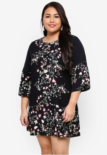 Ex'otico black Plus Size 3/4 Sleeve Floral Dress C347BAAD43A15DGS_1