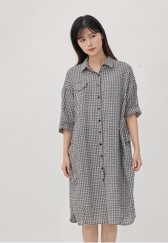 so that's me black Nancy Cotton Print Pocket Shirt One-piece dress Black Plaid E98BDAAFA6B570GS_1