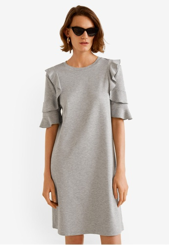 Mango grey Ruffled Sleeve Dress 58AB5AA3EA064AGS_1
