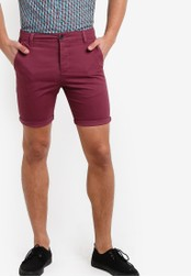 Topman red Burgundy Stretch Skinny Chino Shorts TO413AA00FUDMY_1