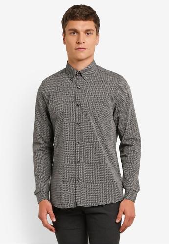 Burton Menswear London grey Black And Grey Long Sleeve Zig Zag Print Shirt BU964AA0ROAPMY_1