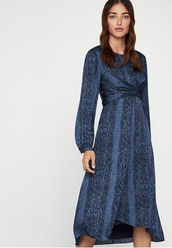 BCBG Max Azria blue Satin Blouson Dress 10FFCAA8719469GS_1