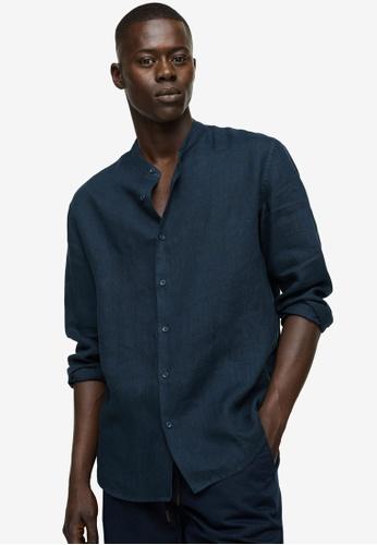 MANGO Man blue Regular-Fit Mao Collar Linen Shirt B9AE0AA7F708DEGS_1