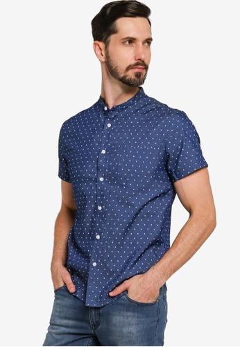 ZALORA BASICS blue Chambray Short Sleeve Stand Collar Shirt D982CAA0CDD209GS_1
