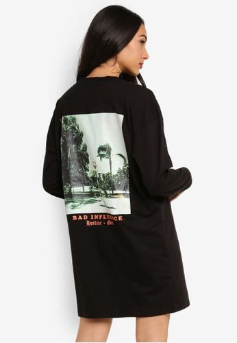 9ed2757d7d6 MISSGUIDED black Oversized Long Sleeve Bad Influence T-Shirt Dress  26E09AAB1C96F4GS_1. CLICK TO ZOOM