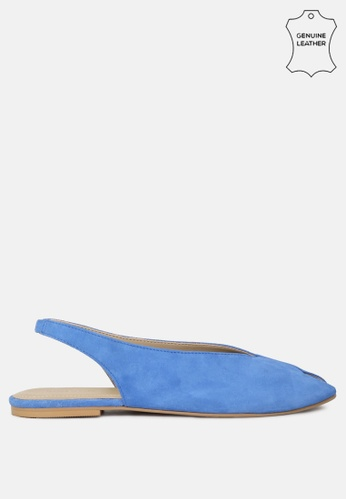 RAG & CO 藍色 皮革面料可调扣平底凉鞋 C833BSHBF77FEDGS_1