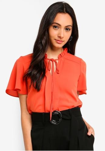 FORCAST orange Jessica Tie Neck Top 1DBF2AA651EB17GS_1