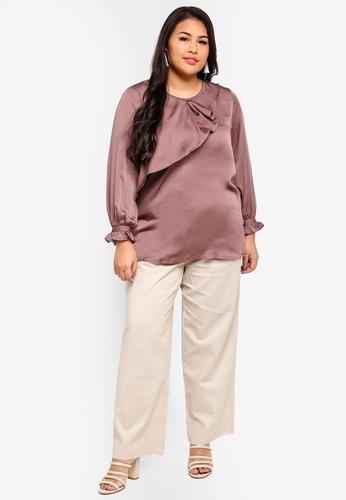 1b7c1c5df5f Shop Ex otico Plus Size Long Sleeve Frilly Blouse Online on ZALORA  Philippines