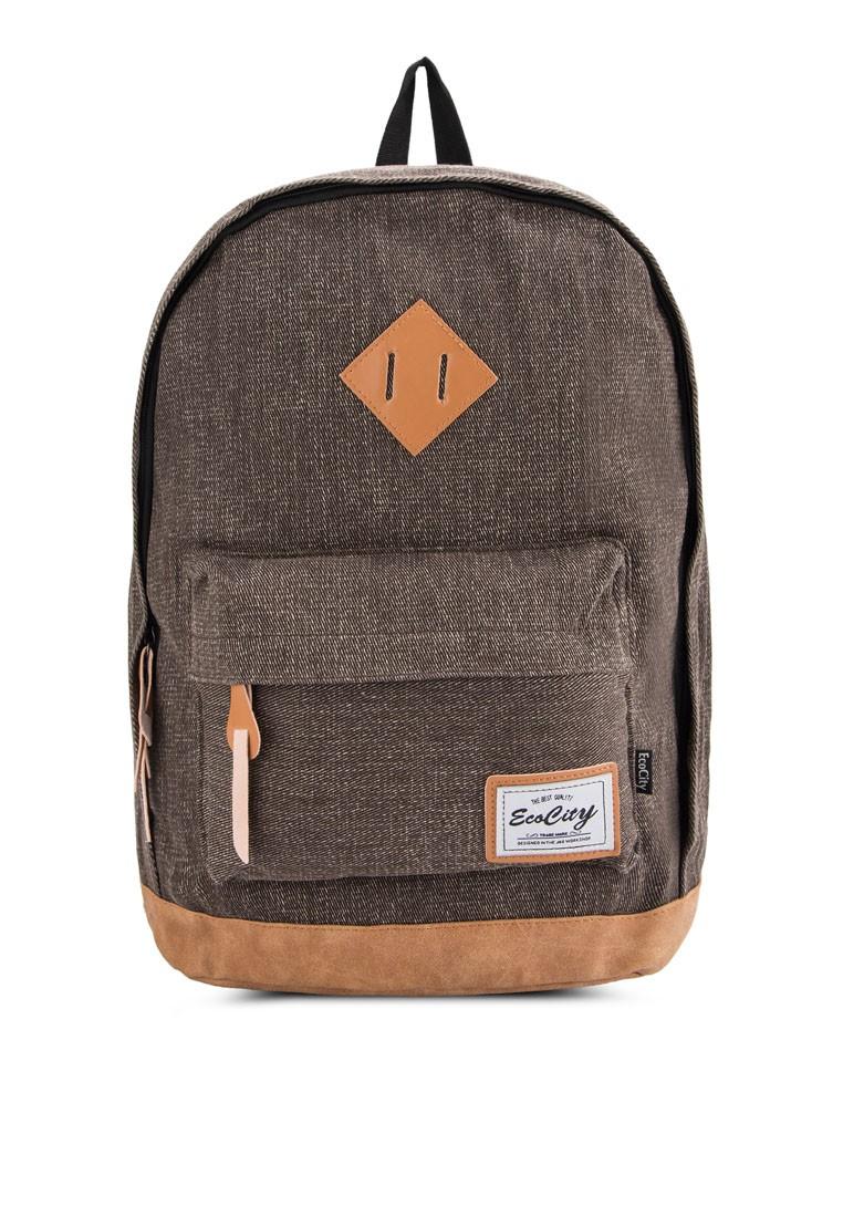 Bagstationz PU-Trimmed Denim Fashion Backpack