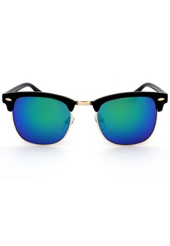 Elitrend green and blue Unisex Half Frame Designer Sunglasses in Reflective Blue/Green EL890AC41AFISG_1