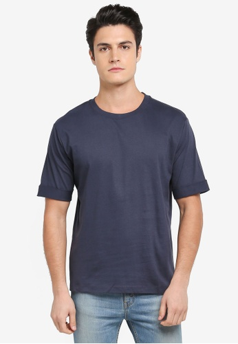MANGO Man blue Rolled-Up Sleeves T-Shirt 1E3D6AA78F03E4GS_1