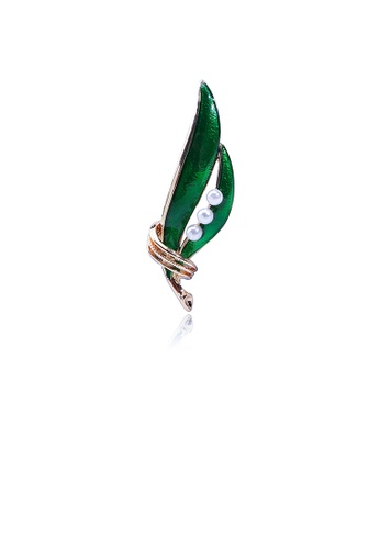 Glamorousky white Simple and Fashion Plated Gold Green Leaf Imitation Pearl Brooch 2C373AC0E28031GS_1