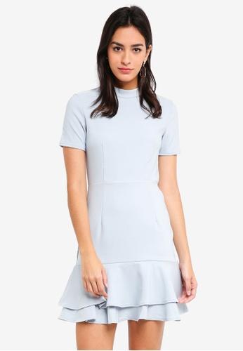 MDSCollections grey Edina Flare-Hem Dress In Grey 6B319AA43D4836GS_1