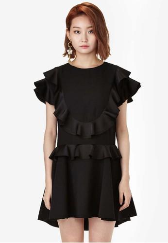 荷葉飾傘擺迷你洋裝,esprit hk store 服飾, 洋裝