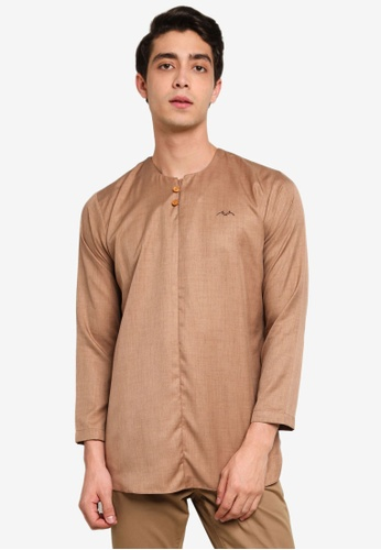 Mudaser brown Brown Long Sleeve Casual Shirt BBC8BAA32831A0GS_1