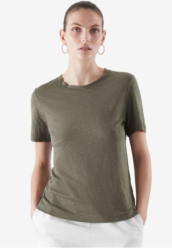 COS green Linen T-Shirt D9C72AA449157FGS_1