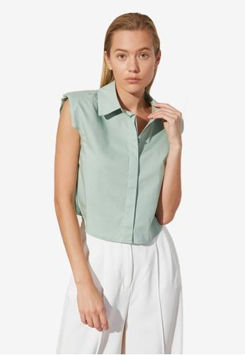 Trendyol green Basic Sleeveless Shirt D98FFAA7B8EE4AGS_1