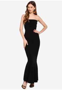 da1c466684e9 Boohoo black Bandeau Fishtail Maxi Dress 357FAAA6D6E78FGS_1