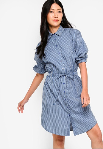 ZALORA blue and multi Button Down Chambray Shirt Dress 484AAAAEF5A639GS_1