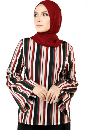 Ashura black and red and multi Cayra Double Stripe Top F8687AABC2CA7AGS_1