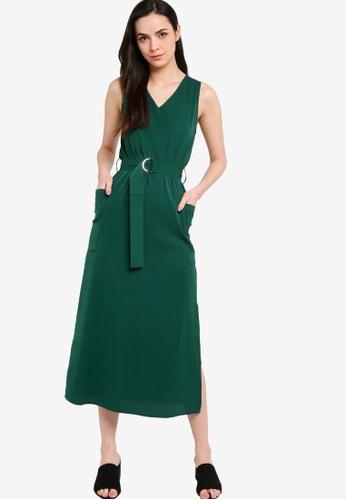 ZALORA WORK 綠色 V Neck Midi Dress EB8D0AA23466CEGS_1