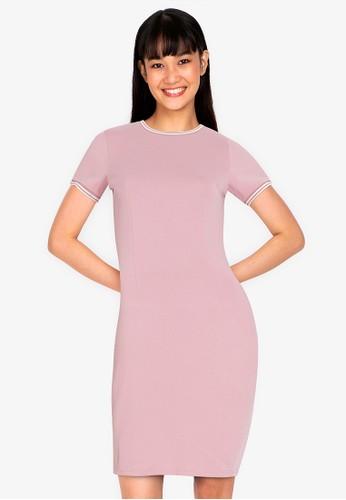 ZALORA BASICS pink Contrast Trim Bodycon Dress B1838AAE3820BDGS_1