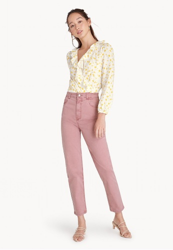 Pomelo pink High Rise Slim Fit Stretch Pants 4C40DAA8696CB8GS_1