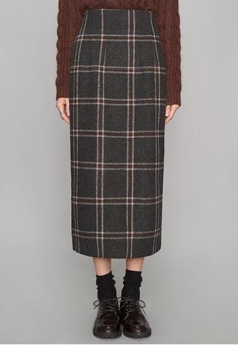 復古大格子長esprit 香港 outlet裙, 服飾, 長裙