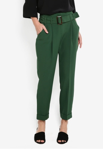 Dorothy Perkins green Green Buckle Tapered Trousers 9BC72AA7B8B999GS_1