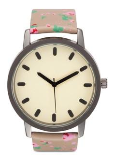 【ZALORA】 花卉圓框仿皮手錶