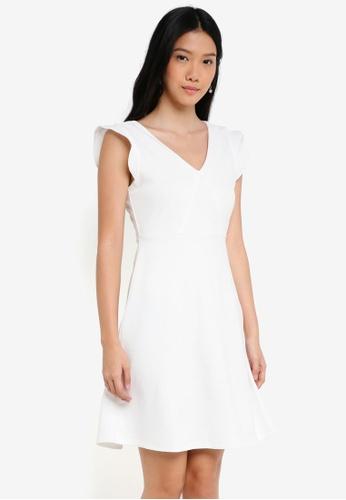 ZALORA BASICS white V Neck Fit & Flare Dress 1236CAAC9C62A2GS_1