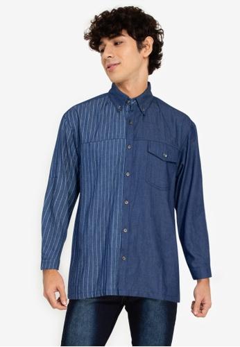 ZALORA BASICS blue Stripe Panel Shirt 87E0AAAA9E5585GS_1