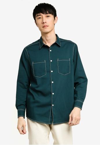 ZALORA BASICS green Contrast Pocket Thread Long Sleeve Shirt 4350AAA8DE38B8GS_1