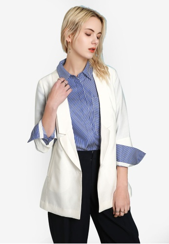 Hopeshow white Casual Blazer 8A06CAA5FB3102GS_1