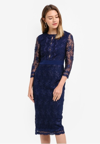 Little Mistress navy Embroided Midi Dress AF539AA4541185GS_1