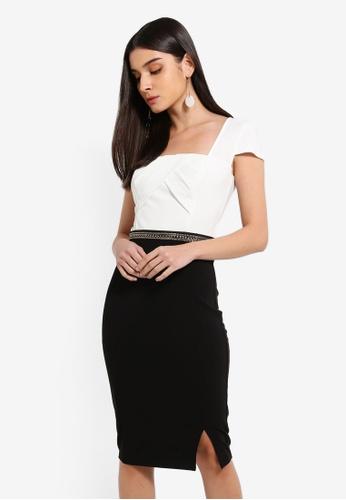 Lipsy navy Mono Square Neck Chain Waist Dress 4CA1DAA55CC179GS_1