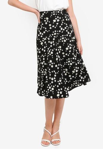 Hopeshow black and yellow Slit Hem Floral Midi Skirt D59BDAABC2C74BGS_1