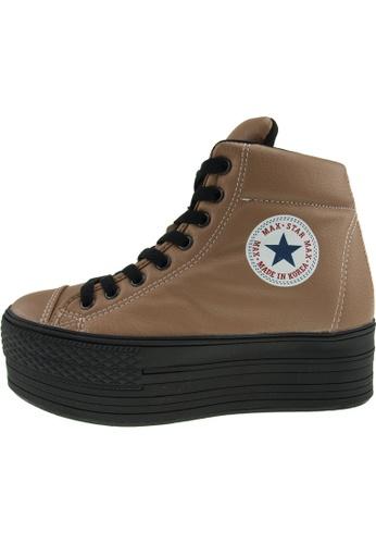 Maxstar Maxstar Women's C50 Padded Lining Hidden Heel Platform PU Sneakers US Women Size MA168SH48CALHK_1