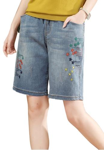 A-IN GIRLS 藍色 鬆緊腰刺繡牛仔短褲 53AE8AA34CC138GS_1