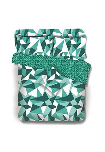 Primeo green Premium 220TC Full Comforter Set, Aqua Comforter, Fitted Sheet, Pillow Case Set of 4 F9339HLD34A15AGS_1
