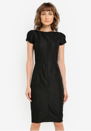 CLOSET black Pleated Cap Sleeve Dress CL919AA0SNXJMY_1