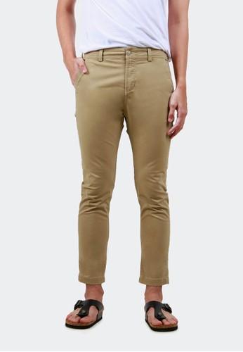 HUBBU brown Celana Chino Ankle Pants Panjang A07008H Khaki 54201AA6CE9D8CGS_1