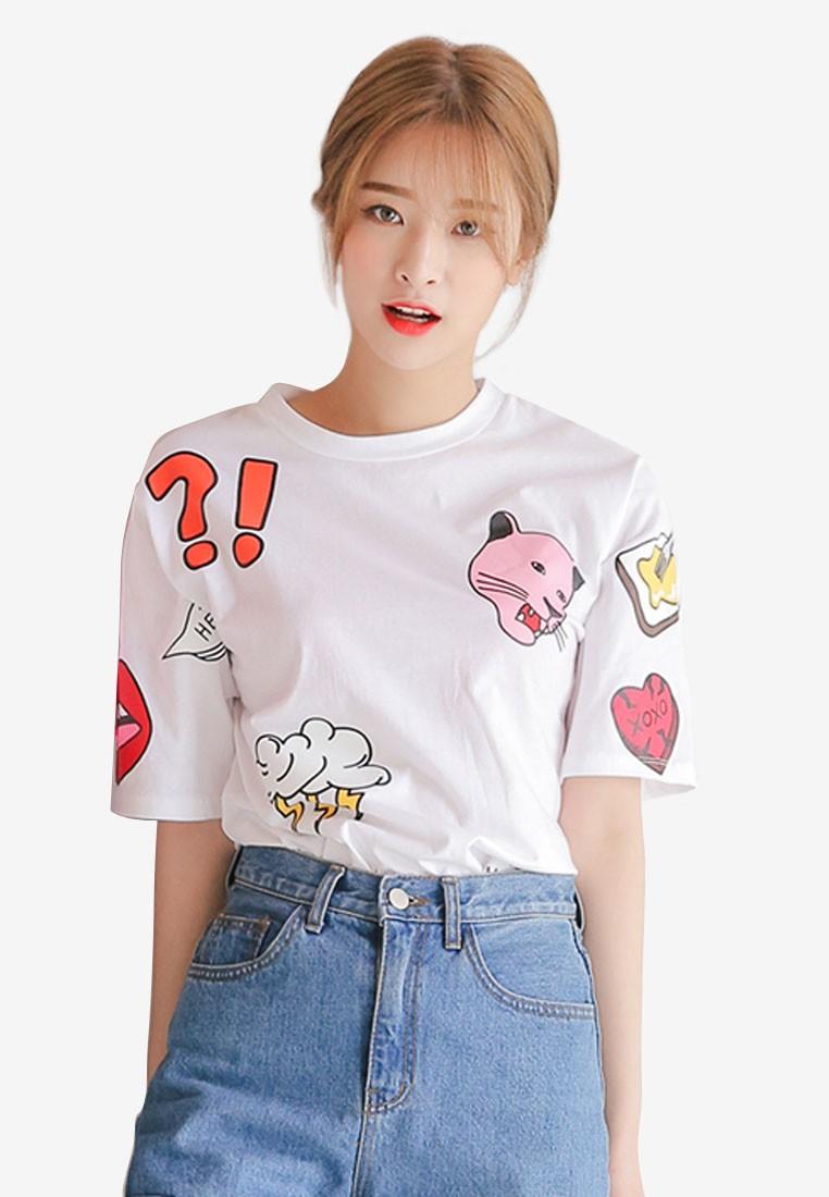 Korean Fashion Tiger Mix Print T-Shirt